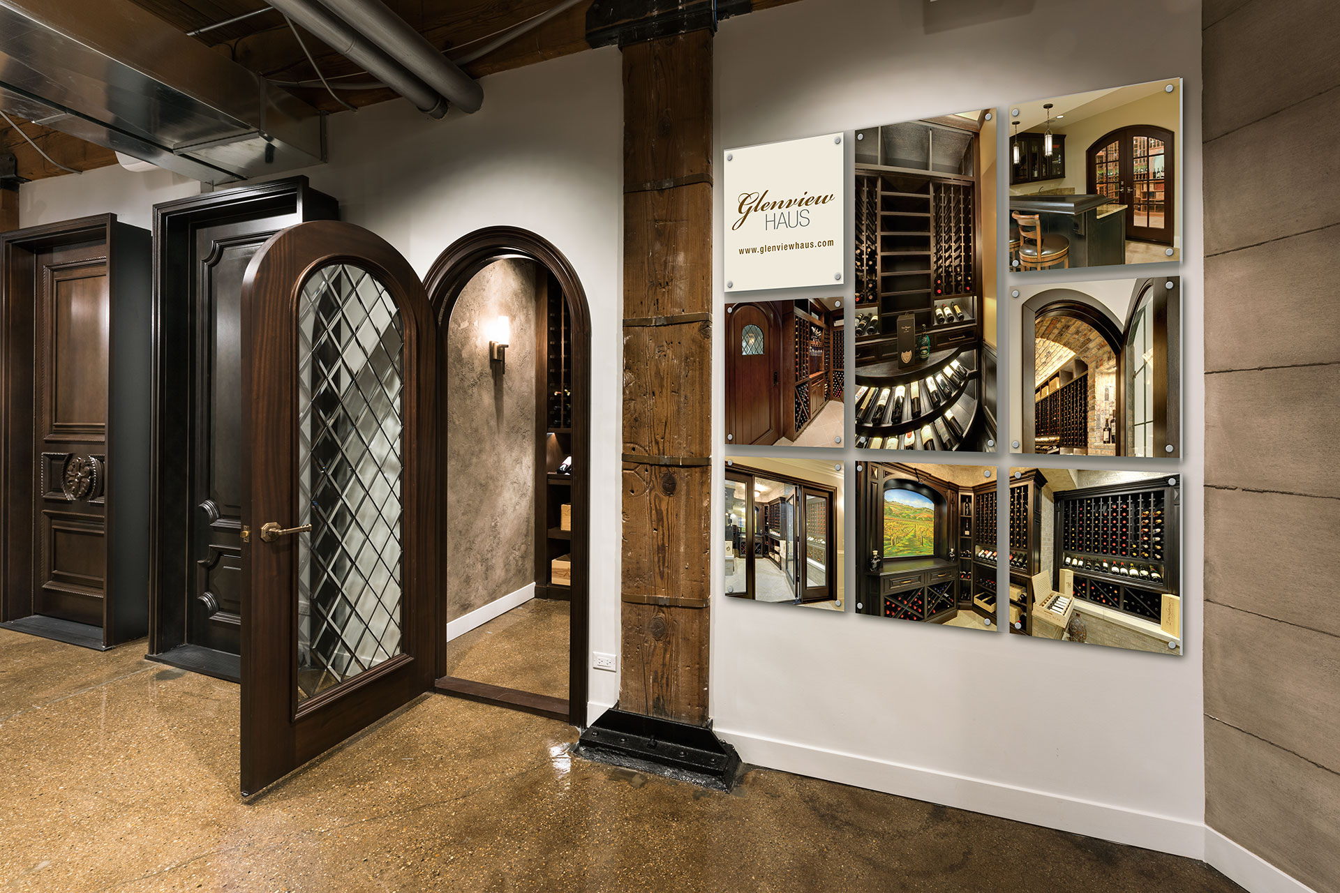 Glenview haus showroom custom doors and wine cellars at glenview haus chicago il 60654 for Walk in wine cellar