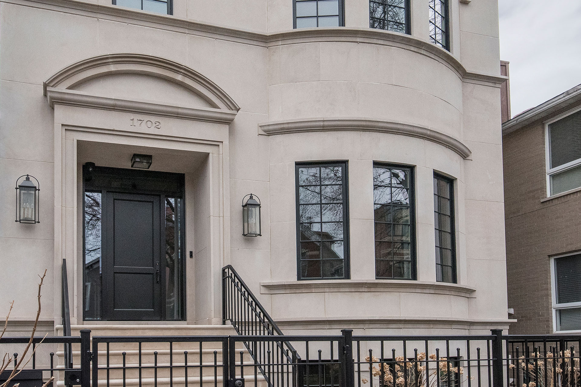 Transitional Mahogany Wood Front Door with Espresso Finish – 1702 N Burling  St., Chicago