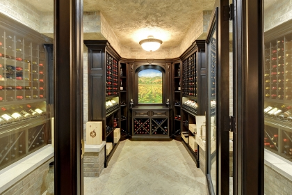 Entrance view of wine cellar showing elegant, landscape painting.