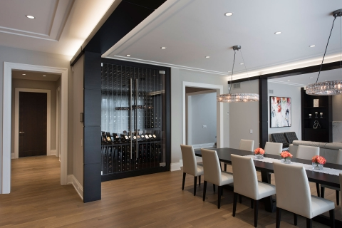 Custom Refrigerated Wine Cabinet, Modern Style Dining Room