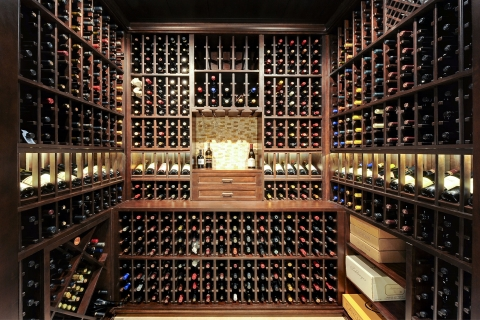 Solar Ln. Wine cellar space maximized to accommodate expansive wine collection.