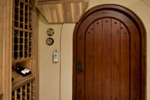 Tuscan inspired 42 inches wide out-swing exterior-grade cellar entrance system.