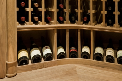 Customized detail element showing a horizontal display in wine cellar.