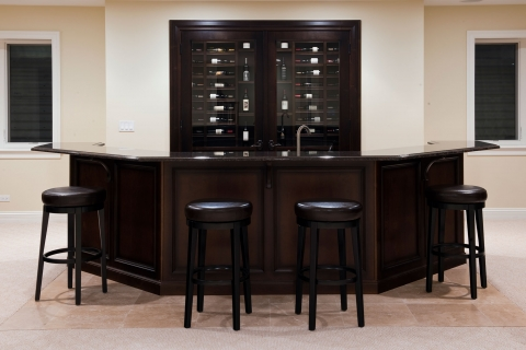 Wine cellar located behind bar.