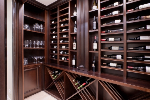 Trophy bottle display with significant shelving for wine storage solution.