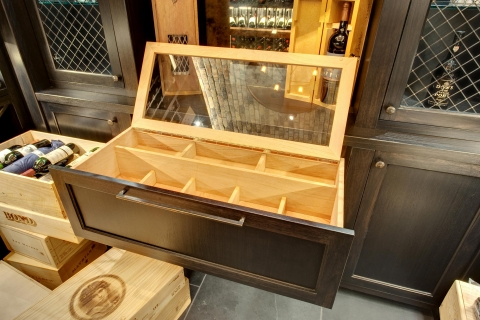Handcrafted, wine Humidor with Spanish Cedar interior and glass cover.